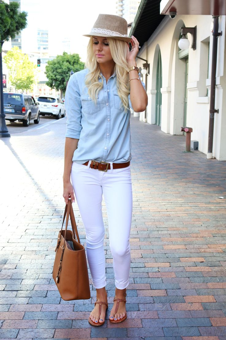 How to Wear a Chambray from a Nashville Wardrobe Stylist. Chambray paired with white jeans