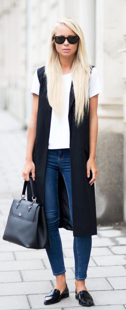 how to wear a summer vest black sleeveless blazer paired with a basic white tee