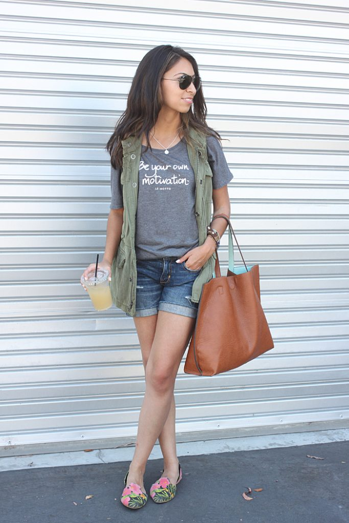 how to wear a summer vest military vest graphic tee and cutoff shorts