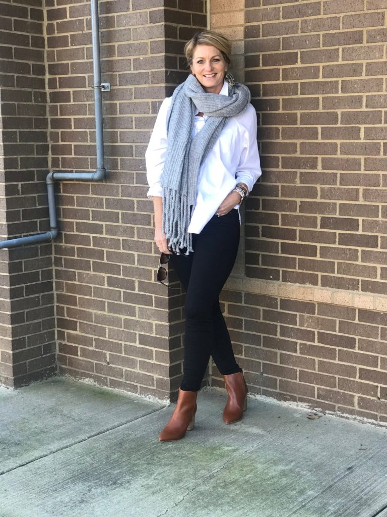 How to Wear Dressier Booties with Jeans Franklin Stylist Katey Preston Dressier Booties and Jeans Look