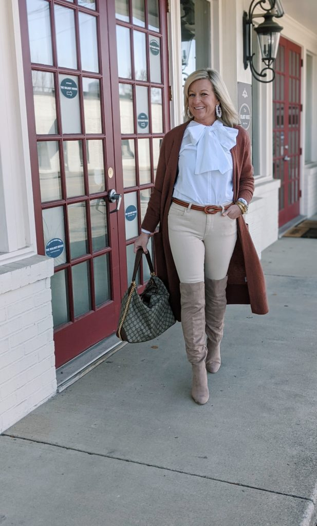 How to Wear Over the Knee Boots with Jeans Over the Knee Boots with Jeans Outfit Murfreesboro Stylist Jenny Grubb Neutral Over the Knee Boots and Jeans Look