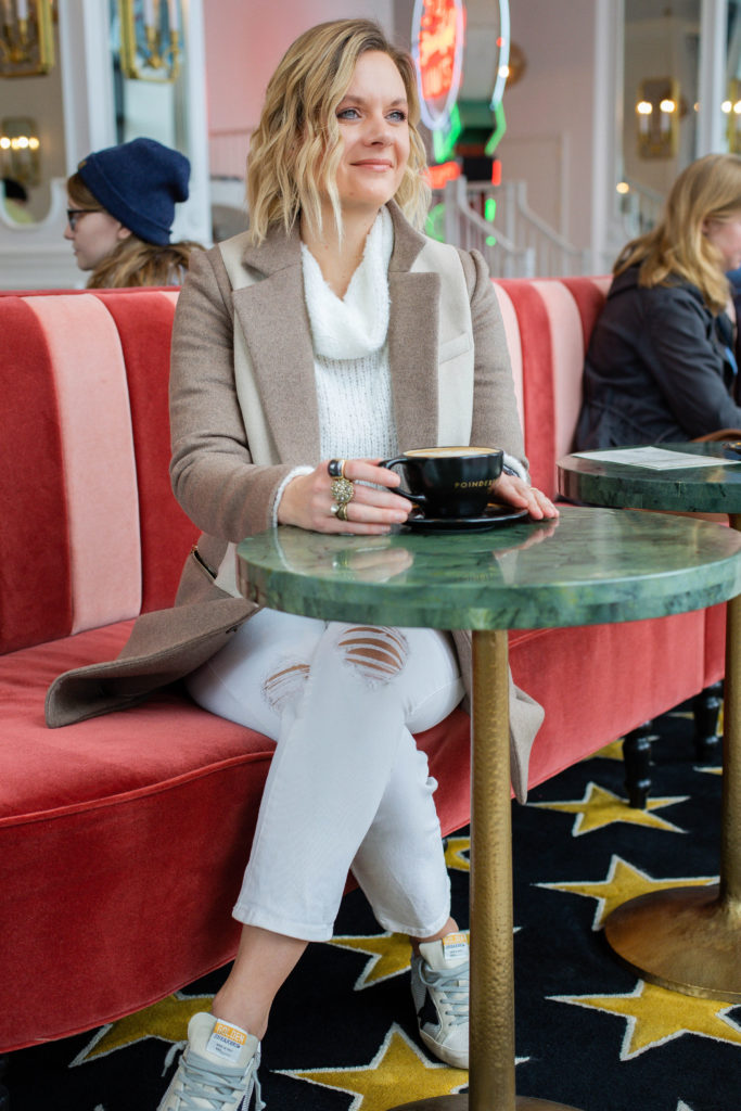 How to Wear White Jeans in Winter Winter White Monochromatic Outfit